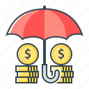 funds, funds protection, insurance, protect, protection, umbrella icon