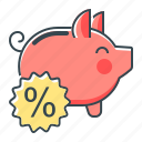 banking, deposit, percent, piggy, piggy bank icon