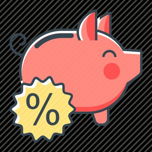 banking, deposit, percent, piggy, piggy bank icon