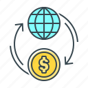 coin, finance, flow, globe, money, money flow icon
