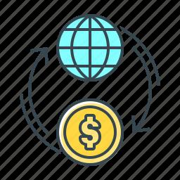 coin, finance, flow, globe, money, money flow icon