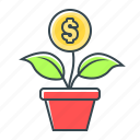 coin, finance, flower, growth, money, money growth icon
