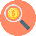 finance, funds, magnifier, magnifying glass, search, search funds icon