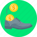 cash, cash stash, coins, shoe, stash icon
