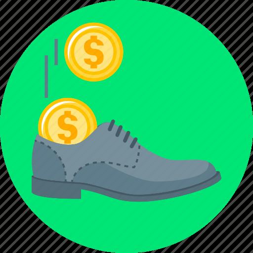 cash, cash stash, coins, shoe, stash icon