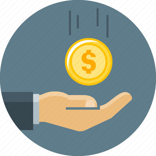 cent, coin, finance, funding, hand, money, receipts icon