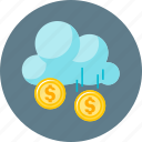 cloud, coin, finance, funding, money, receipts icon