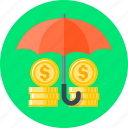 finance, funds, funds protection, protection, safety, security, umbrella icon