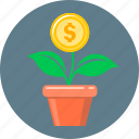 coin, finance, flower, growth, money, money growth, start up icon