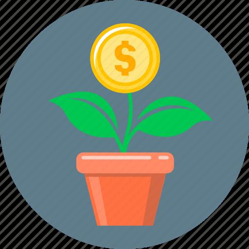 coin, finance, flower, growth, money, money growth, start up icon