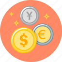 cent, coin, coins, dollar, euro, money, money market icon