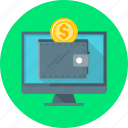 money, online, online wallet, wallet, web icon