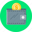 coin, money, personal, personal wallet, purse, receipts, wallet icon