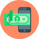 cash, dollar, m-banking, mobile, mobile banking, money, replenishment icon