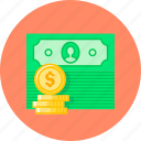 cash, coin, currency, dollar, money, revenues icon