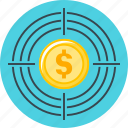 aim, finance, goal, target, targeting icon