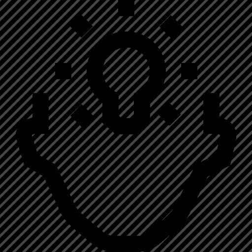 collegue, creativity, employee, head, idea, light, silhouette icon