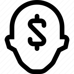 collegue, dolar, employee, head, sign, silhouette icon