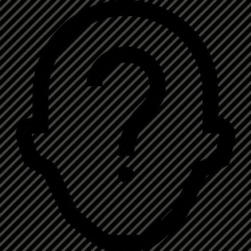 collegue, employee, head, question mark, silhouette icon