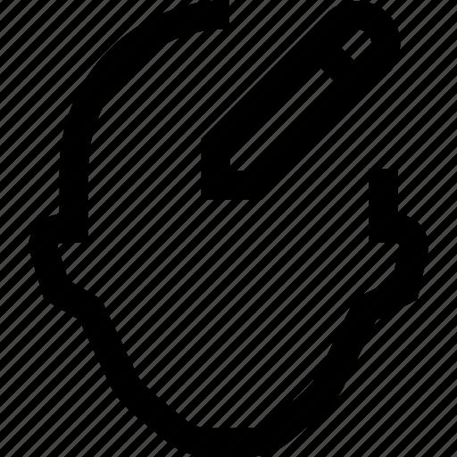 add, collegue, employee, head, silhouette, write icon
