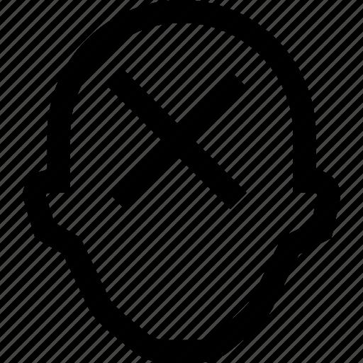 collegue, cross, employee, head, no, silhouette icon
