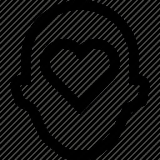 collegue, employee, head, hearth, love, silhouette icon