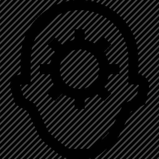 cogwheel, collegue, employee, gear, head, silhouette icon