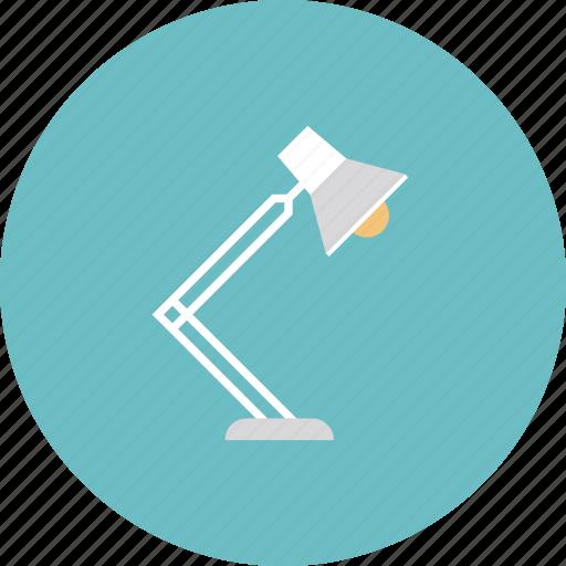 desk, equipment, furniture, lamp, light, lightbulb, object, office, tool icon