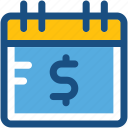 calendar, dollar, schedule, timeframe, wall calendar icon
