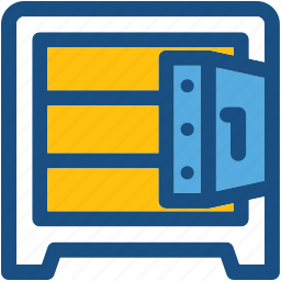 bank locker, locker, money security, open vault, vault icon