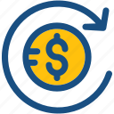dollars, finance, finance assets, financial, refresh icon