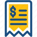 cheque, dollar, receipt, receipt paper, voucher icon