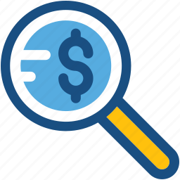 commerce, dollar, magnifier, searching finance, searching money icon