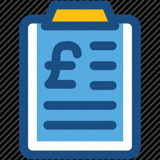 bill, clipboard, document, euro, finance report icon