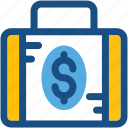 briefcase, cash bag, currency bag, dollar bag, finance, money bag icon