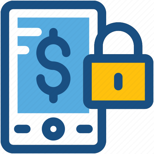 financial app, locked app, m commerce, secure finance app, secure mobile banking icon