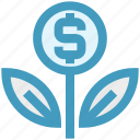 business, coin, dollar, finance, flower, grow, plant icon