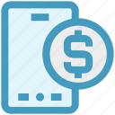 coin, dollar, dollar sign, mobile, online payment, phone, smartphone icon