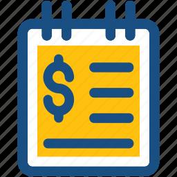 bill, document, dollar, finance file, finance report icon