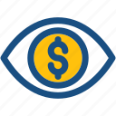 dollar, eye, financial, financial vision, marketing icon