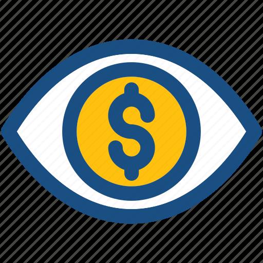 dollar, eye, financial, financial vision, marketing icon
