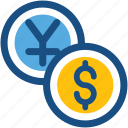 cash, coins, currency coins, dollar coins, yen coins icon
