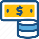 cash, coins stack, dollar coins, money, paper money icon