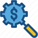 cogwheel, commerce, magnifier, magnifying, searching finance icon