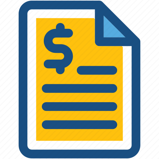 bill, document, dollar, finance file, finance report icon