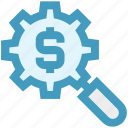 business, dollar, finance, find, invest, money, search icon