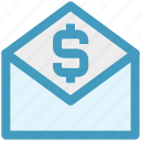 currency, dollar, email, envelope, finance, letter, sign icon