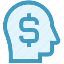 cash, dollar, finance, head, mind, shopping, thinking icon