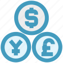 cash, coins, currency, dollar, euro, exchange, yen icon