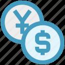 cash, coins, dollar, dollar coin, yen, yen coin icon